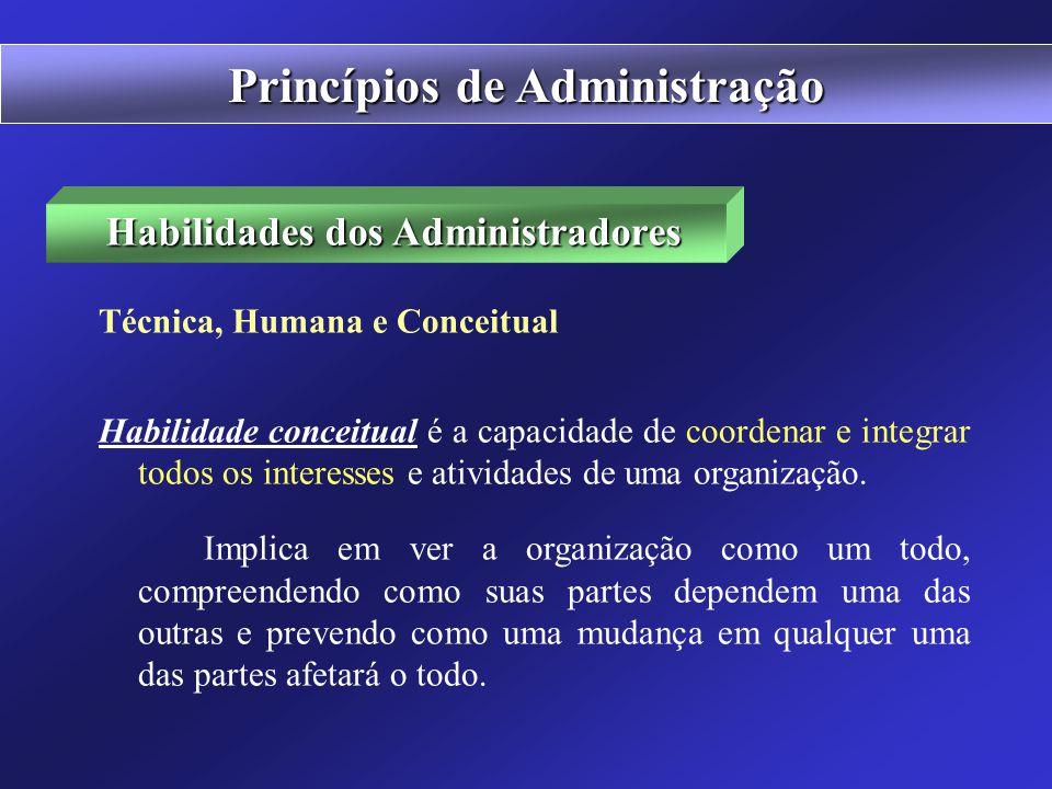 Habilidades dos Administradores Técnica, Humana e Conceitual Habilidade técnica é a capacidade de usar os procedimentos, técnicas e conhecimento em um