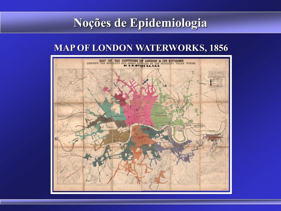 Estudo do Cólera em Londres (1849/1854) BASES HISTÓRICAS DA EPIDEMIOLOGIA Noções de Epidemiologia John Snow (1813-1858) Southwark and Vauxhall Water C