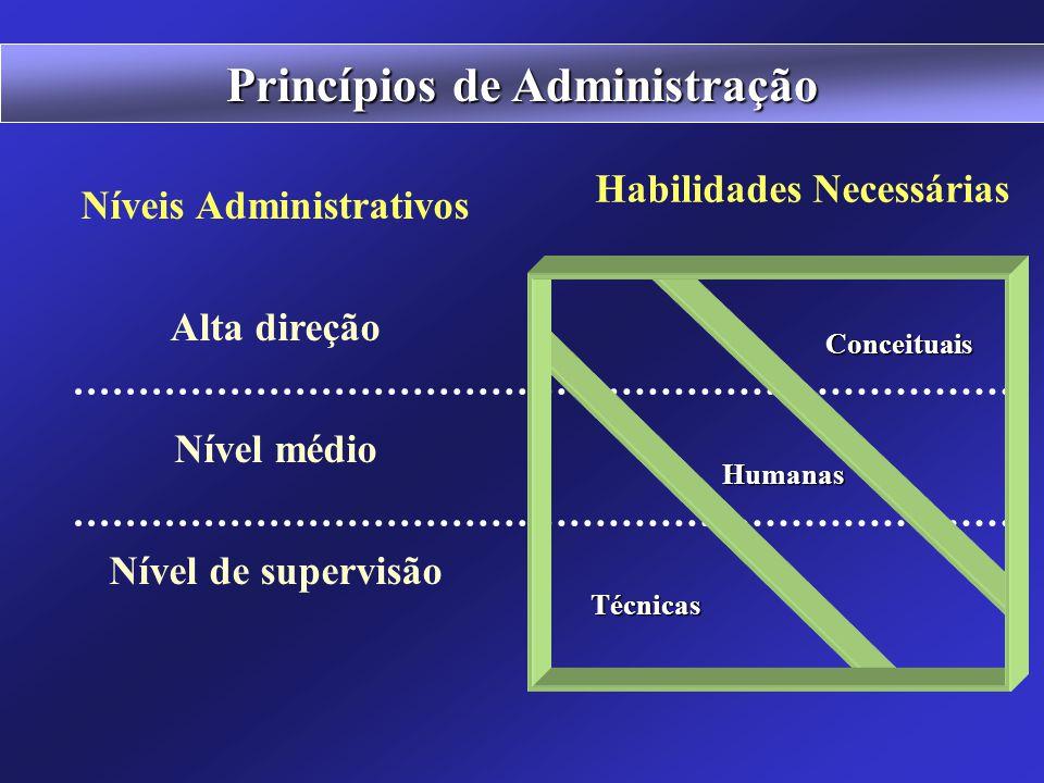Habilidades dos Administradores Técnica conhecimentos, métodos para as tarefas Humana pessoas compreender e motivar liderar Conceitual compreender a o