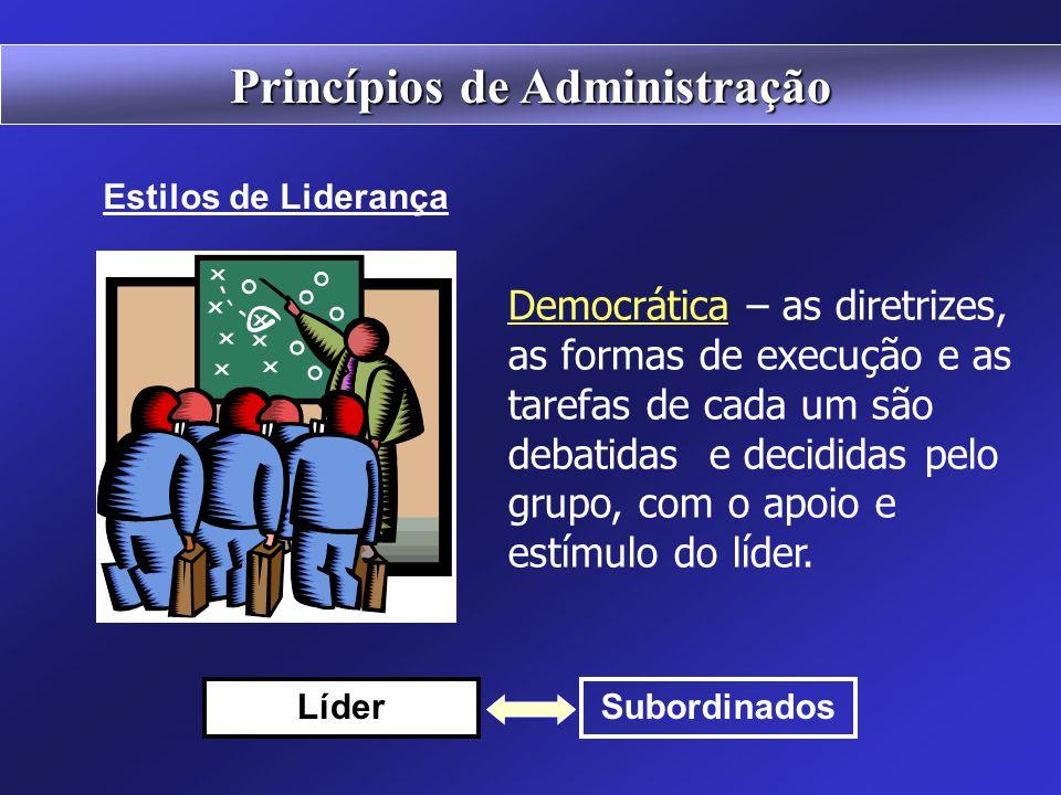 Autocrática – o líder fixa as diretrizes, as formas de execução das tarefas e as atribuições de cada um no grupo. Subordinados Líder Princípios de Adm