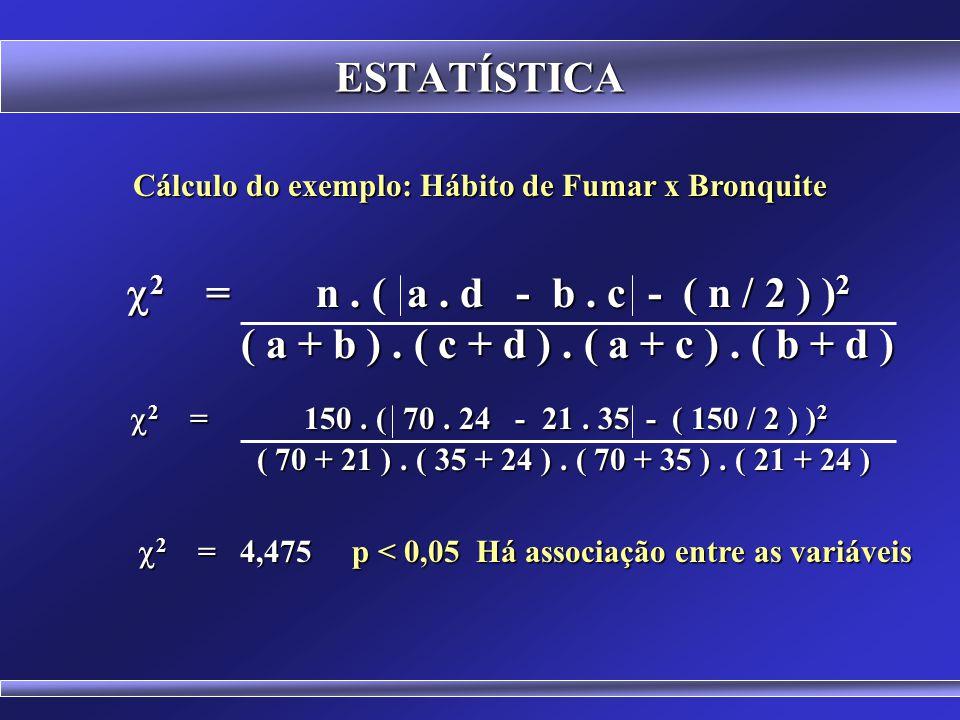 ESTATÍSTICA TESTE DE ASSOCIAÇÃO QUI-QUADRADO Cálculo do  2 em tabelas 2 x 2 com Correção de Continuidade.  2 = n. ( a. d - b. c - ( n / 2 ) ) 2  2