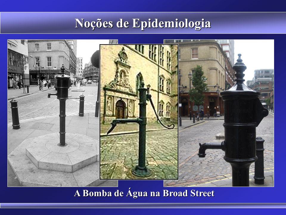 Estudo do Cólera em Londres BASES HISTÓRICAS DA EPIDEMIOLOGIA John Snow Evidencia a força da estatística (bombas de água x teoria dos miasmas) Noções