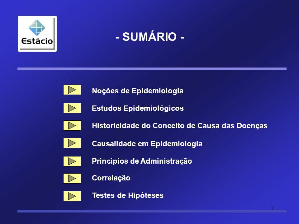 2 - SUMÁRIO - Noções de Epidemiologia Estudos Epidemiológicos Historicidade do Conceito de Causa das Doenças Causalidade em Epidemiologia Princípios de Administração Correlação Testes de Hipóteses