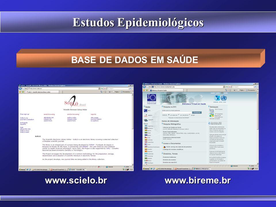 Erros mais Comuns em Estudos Epidemiológicos - Erro no tamanho da amostra; - Viés de seleção (auto-seleção); - Viés de mensuração (imprecisão das medi