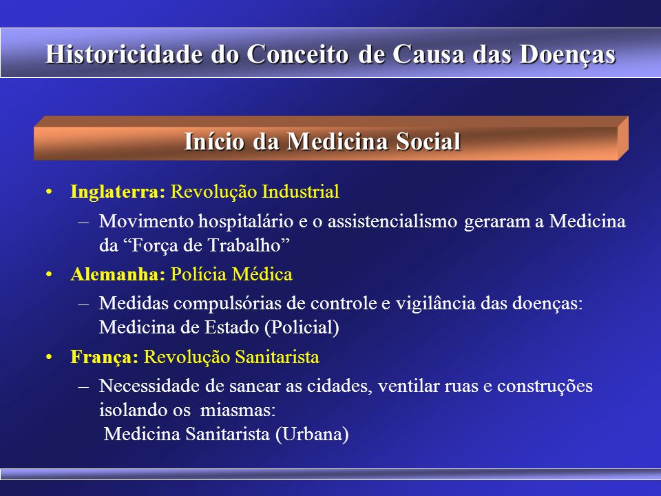 Historicidade do Conceito de Causa das Doenças Teoria dos Miasmas x Teoria dos Germes x Teoria Social Bacteriologia (causa externa) = UNICAUSALIDADE S