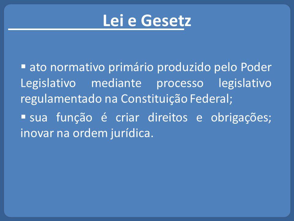Lei e Gesetz  ato normativo primário produzido pelo Poder Legislativo mediante processo legislativo regulamentado na Constituição Federal;  sua funç