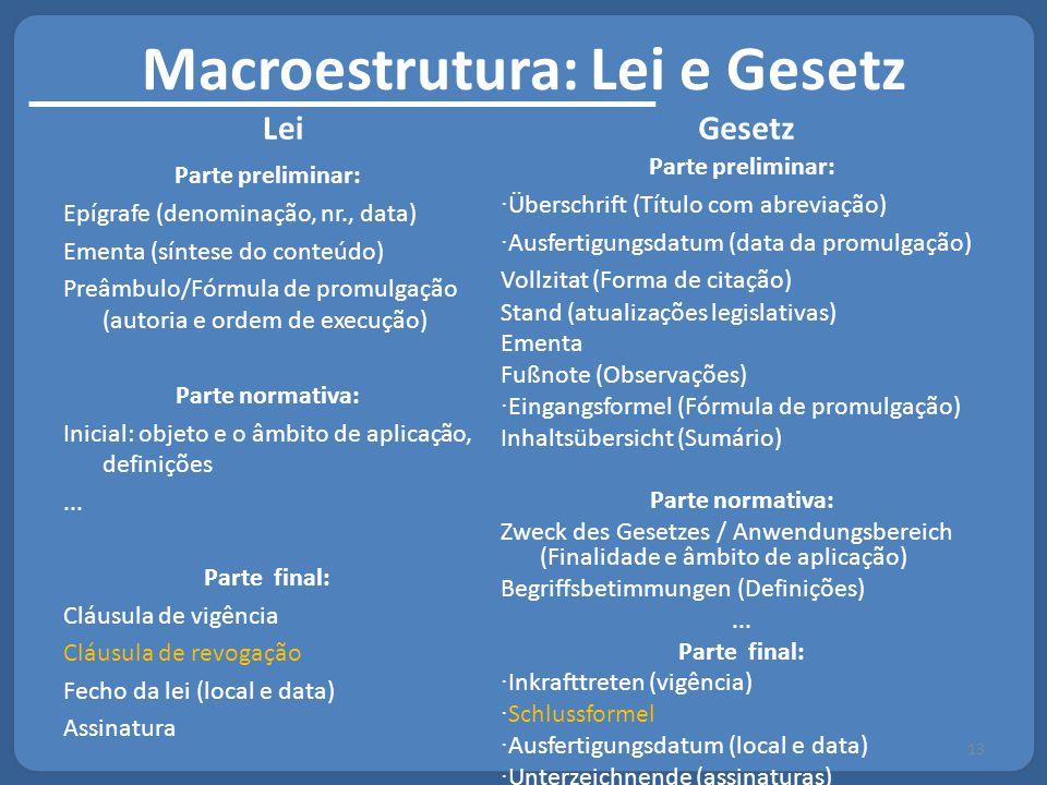 Macroestrutura: Lei e Gesetz Lei Parte preliminar: Epígrafe (denominação, nr., data) Ementa (síntese do conteúdo) Preâmbulo/Fórmula de promulgação (au