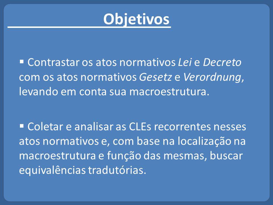 Macroestrutura: Lei e Gesetz  As leis brasileiras são mais uniformes na sua estrutura.