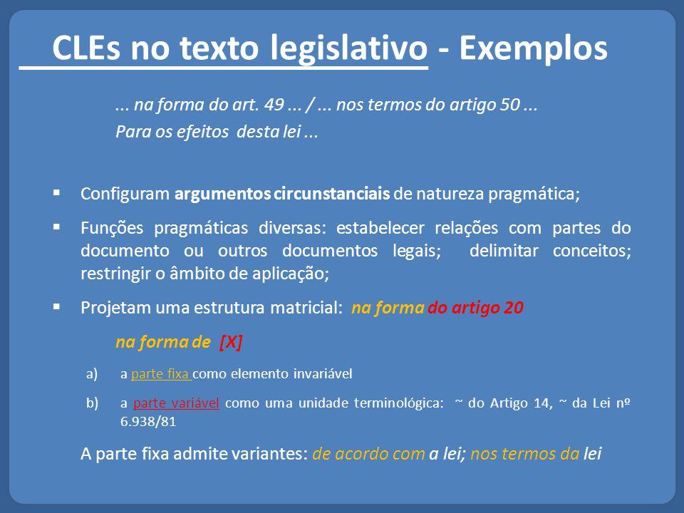 CLEs no texto legislativo - Exemplos... na forma do art. 49... /... nos termos do artigo 50... Para os efeitos desta lei...  Configuram argumentos ci
