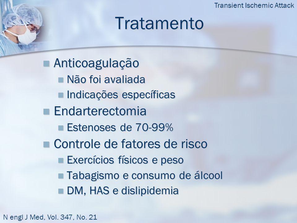 Tratamento  Anticoagulação  Não foi avaliada  Indicações específicas  Endarterectomia  Estenoses de 70-99%  Controle de fatores de risco  Exercícios físicos e peso  Tabagismo e consumo de álcool  DM, HAS e dislipidemia Transient Ischemic Attack N engl J Med, Vol.