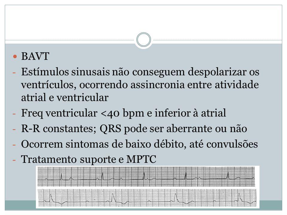  BAVT - Estímulos sinusais não conseguem despolarizar os ventrículos, ocorrendo assincronia entre atividade atrial e ventricular - Freq ventricular <
