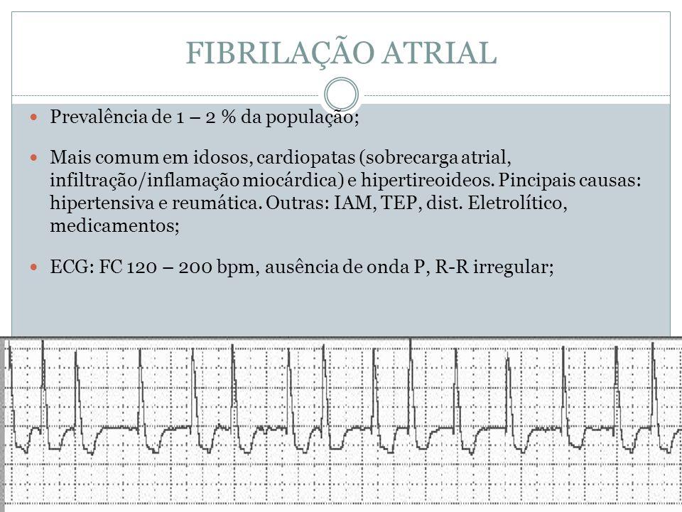 FIBRILAÇÃO ATRIAL  Prevalência de 1 – 2 % da população;  Mais comum em idosos, cardiopatas (sobrecarga atrial, infiltração/inflamação miocárdica) e