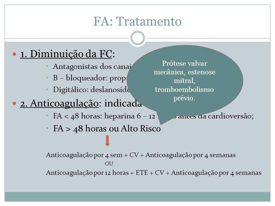 FA: Tratamento  1. Diminuição da FC: •Antagonistas dos canais de Ca: diltiazem e verapamil; •Β – bloqueador: propranolol, metoprolol, esmolol; •Digit