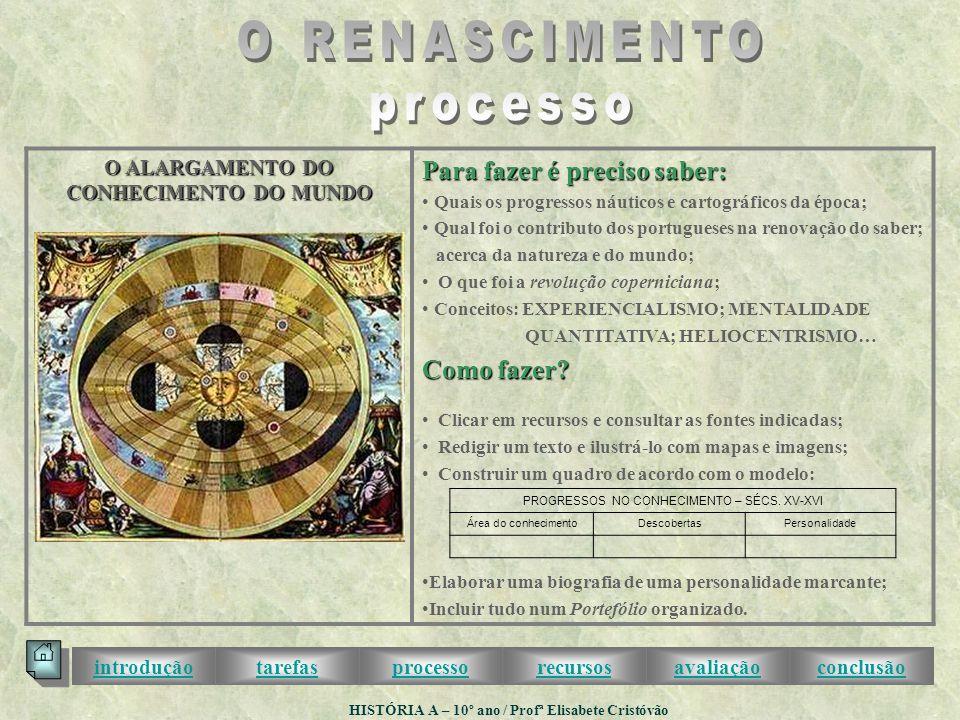 O ALARGAMENTO DO CONHECIMENTO DO MUNDO Para fazer é preciso saber: • Quais os progressos náuticos e cartográficos da época; • Qual foi o contributo dos portugueses na renovação do saber; acerca da natureza e do mundo; • O que foi a revolução coperniciana; • Conceitos: EXPERIENCIALISMO; MENTALIDADE QUANTITATIVA; HELIOCENTRISMO… Como fazer.