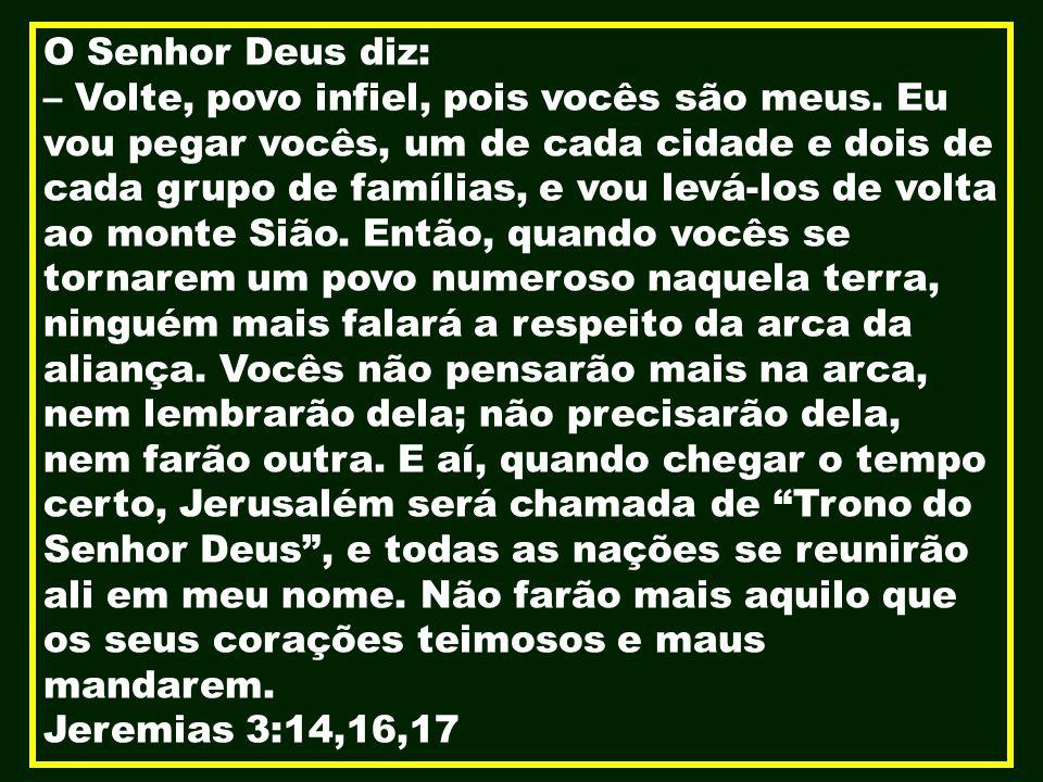 O Senhor Deus diz: – Volte, povo infiel, pois vocês são meus. Eu vou pegar vocês, um de cada cidade e dois de cada grupo de famílias, e vou levá-los d
