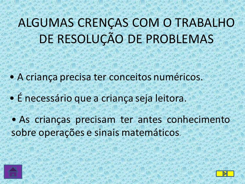 ALGUMAS CRENÇAS COM O TRABALHO DE RESOLUÇÃO DE PROBLEMAS • A criança precisa ter conceitos numéricos. • É necessário que a criança seja leitora. • As