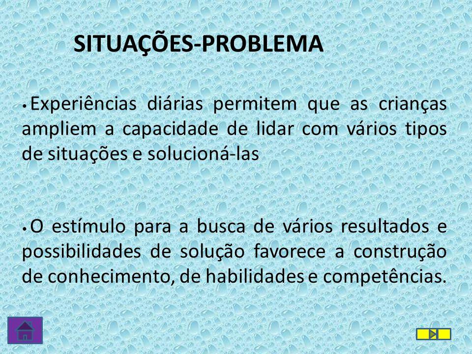 SITUAÇÕES-PROBLEMA • Experiências diárias permitem que as crianças ampliem a capacidade de lidar com vários tipos de situações e solucioná-las • O est