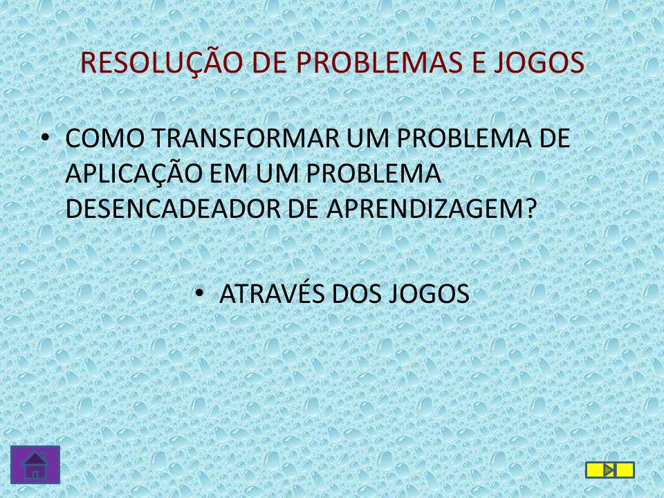 RESOLUÇÃO DE PROBLEMAS E JOGOS • COMO TRANSFORMAR UM PROBLEMA DE APLICAÇÃO EM UM PROBLEMA DESENCADEADOR DE APRENDIZAGEM? • ATRAVÉS DOS JOGOS