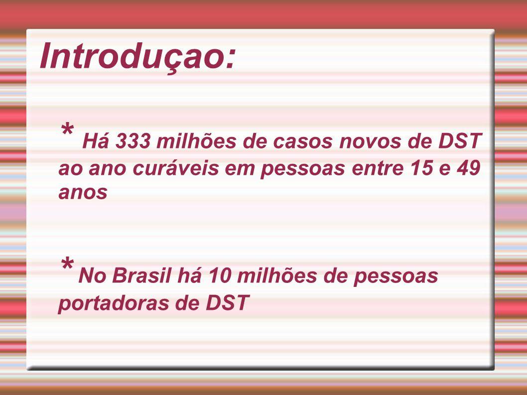 Introduçao: * Há 333 milhões de casos novos de DST ao ano curáveis em pessoas entre 15 e 49 anos * No Brasil há 10 milhões de pessoas portadoras de DS