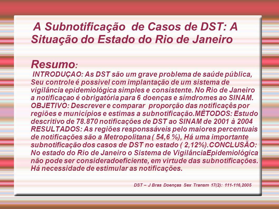 A Subnotificação de Casos de DST: A Situação do Estado do Rio de Janeiro Resumo : INTRODUÇAO: As DST são um grave problema de saúde pública, Seu contr