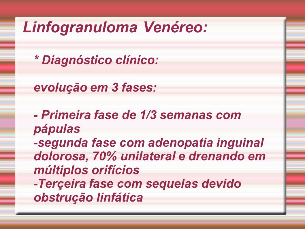 Linfogranuloma Venéreo: * Diagnóstico clínico: evolução em 3 fases: - Primeira fase de 1/3 semanas com pápulas -segunda fase com adenopatia inguinal d