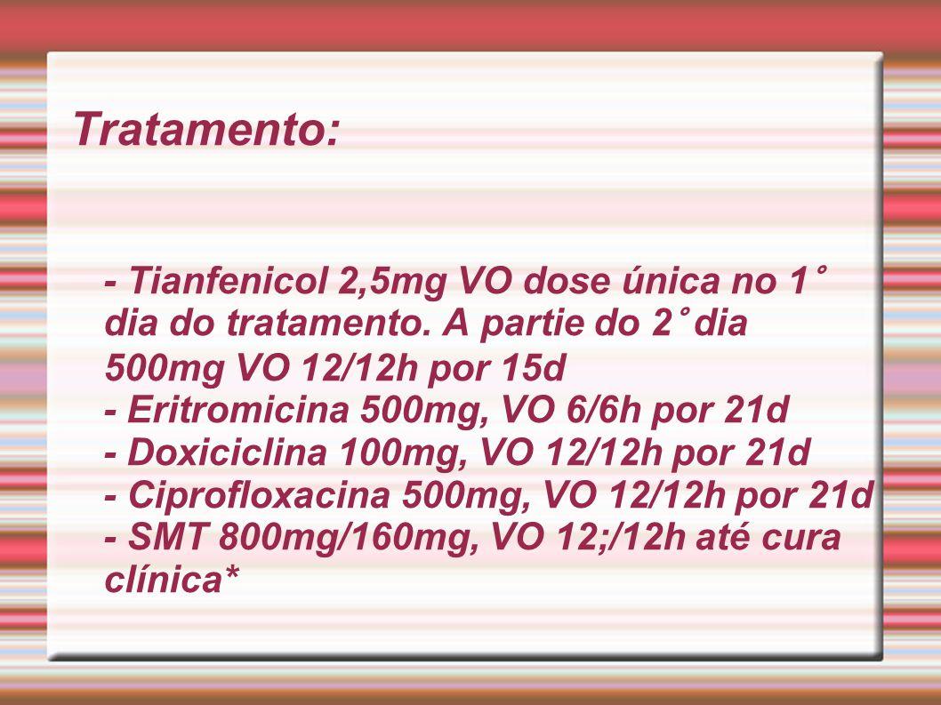Tratamento: - Tianfenicol 2,5mg VO dose única no 1° dia do tratamento. A partie do 2° dia 500mg VO 12/12h por 15d - Eritromicina 500mg, VO 6/6h por 21