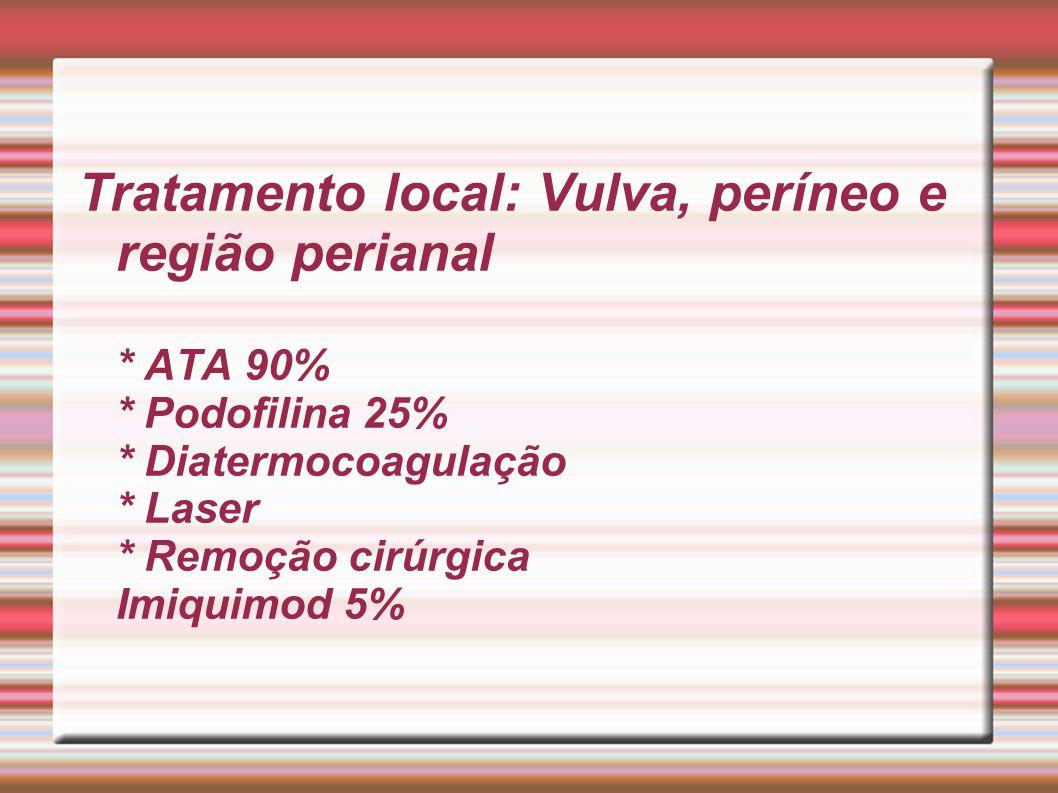 Tratamento local: Vulva, períneo e região perianal * ATA 90% * Podofilina 25% * Diatermocoagulação * Laser * Remoção cirúrgica Imiquimod 5%