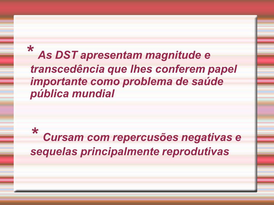 * As DST apresentam magnitude e transcedência que lhes conferem papel importante como problema de saúde pública mundial * Cursam com repercusões negat
