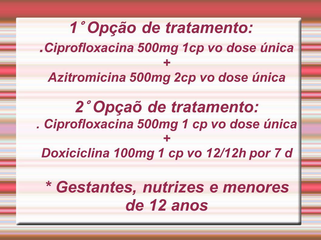 1° Opção de tratamento:. Ciprofloxacina 500mg 1cp vo dose única + Azitromicina 500mg 2cp vo dose única 2° Opçaõ de tratamento:. Ciprofloxacina 500mg 1