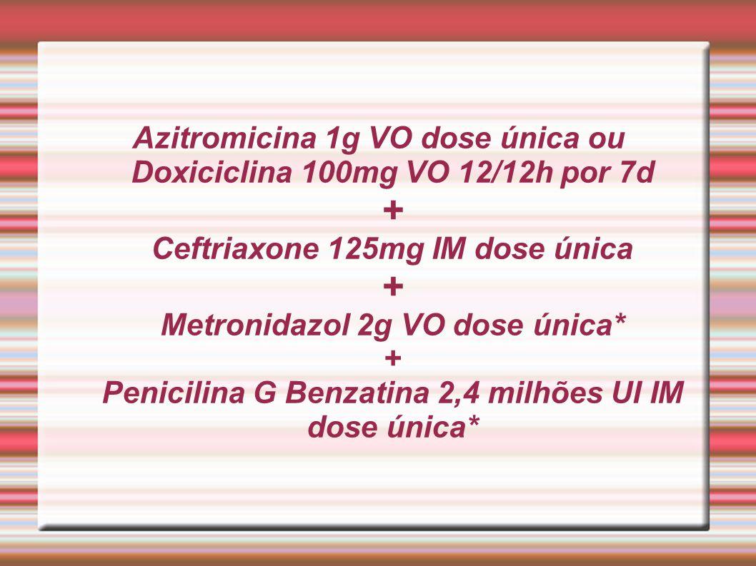 Azitromicina 1g VO dose única ou Doxiciclina 100mg VO 12/12h por 7d + Ceftriaxone 125mg IM dose única + Metronidazol 2g VO dose única* + Penicilina G
