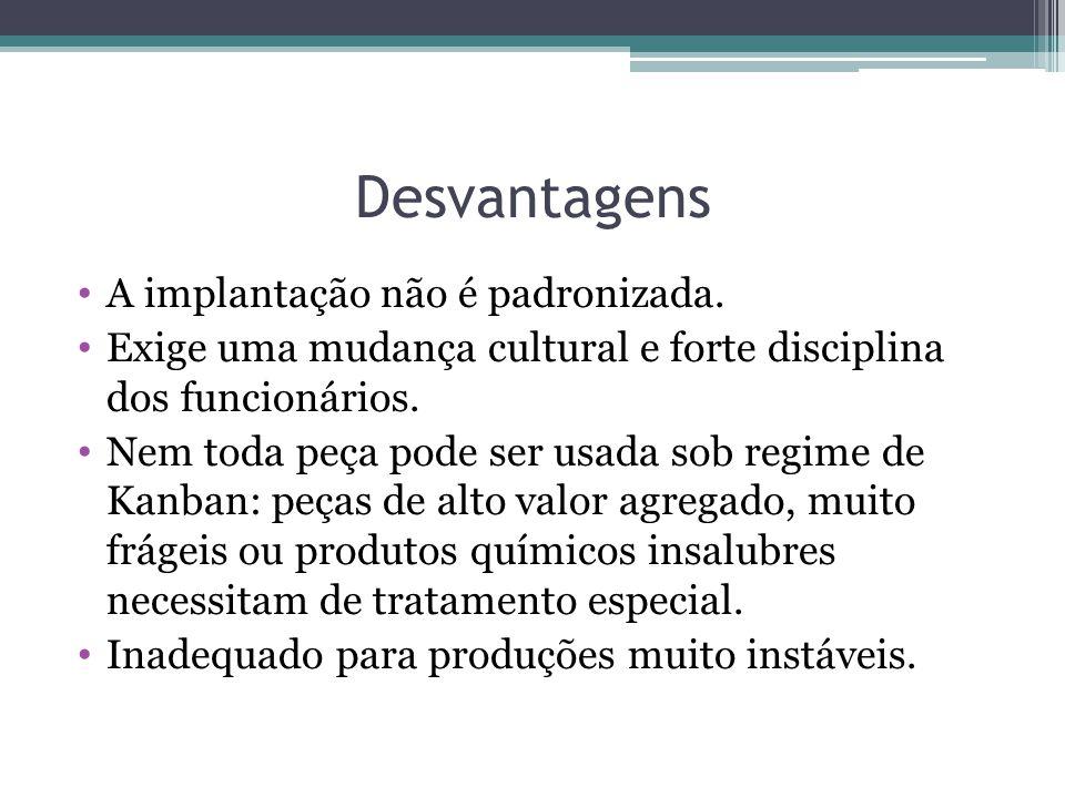 Desvantagens • A implantação não é padronizada.