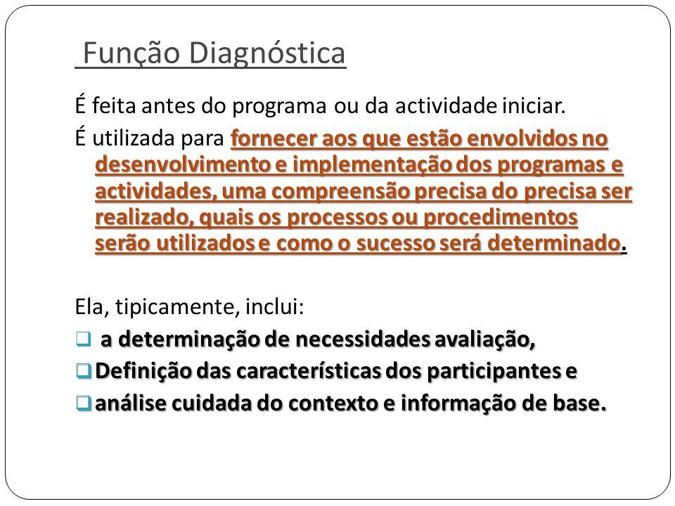 Função Diagnóstica É feita antes do programa ou da actividade iniciar. fornecer aos que estão envolvidos no desenvolvimento e implementação dos progra