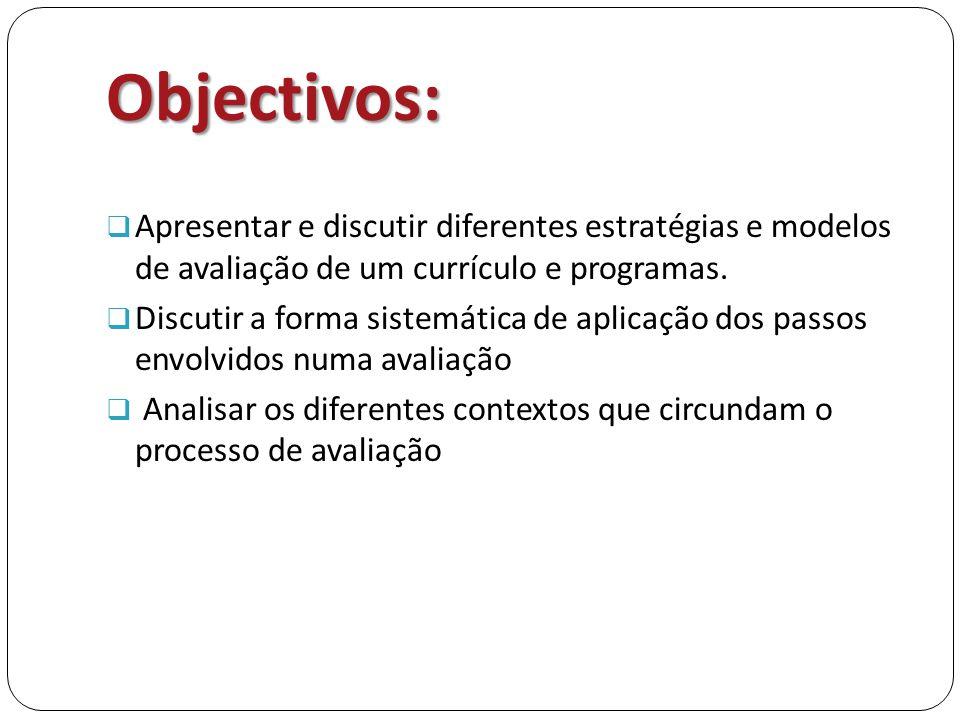 Objectivos:  Apresentar e discutir diferentes estratégias e modelos de avaliação de um currículo e programas.  Discutir a forma sistemática de aplic