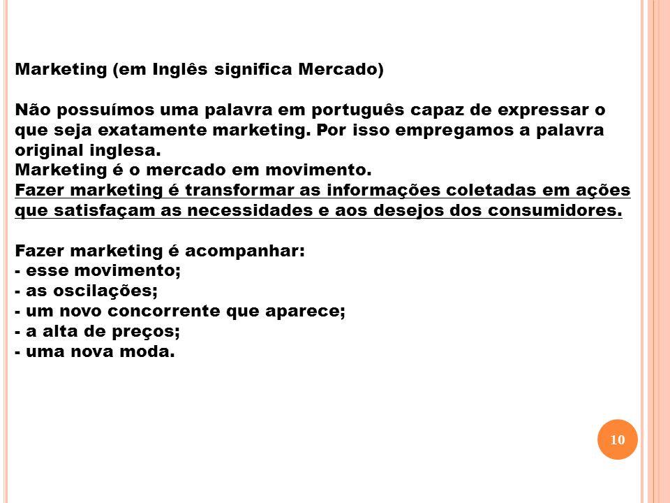Marketing (em Inglês significa Mercado) Não possuímos uma palavra em português capaz de expressar o que seja exatamente marketing. Por isso empregamos