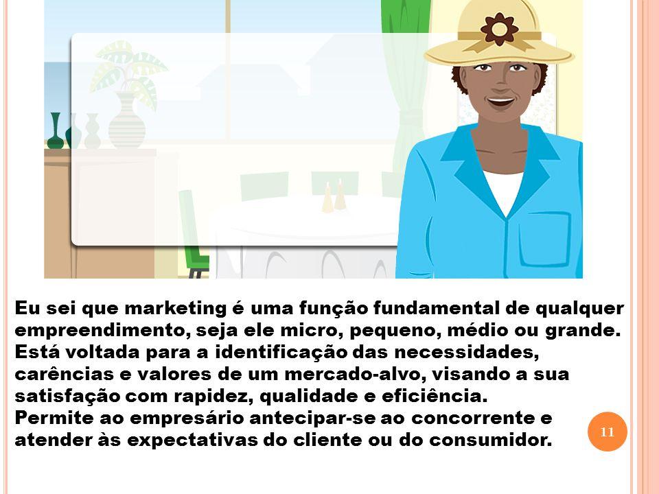 Eu sei que marketing é uma função fundamental de qualquer empreendimento, seja ele micro, pequeno, médio ou grande. Está voltada para a identificação