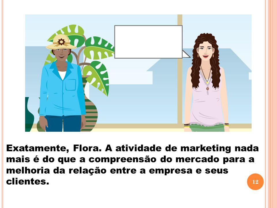 Exatamente, Flora. A atividade de marketing nada mais é do que a compreensão do mercado para a melhoria da relação entre a empresa e seus clientes. 12