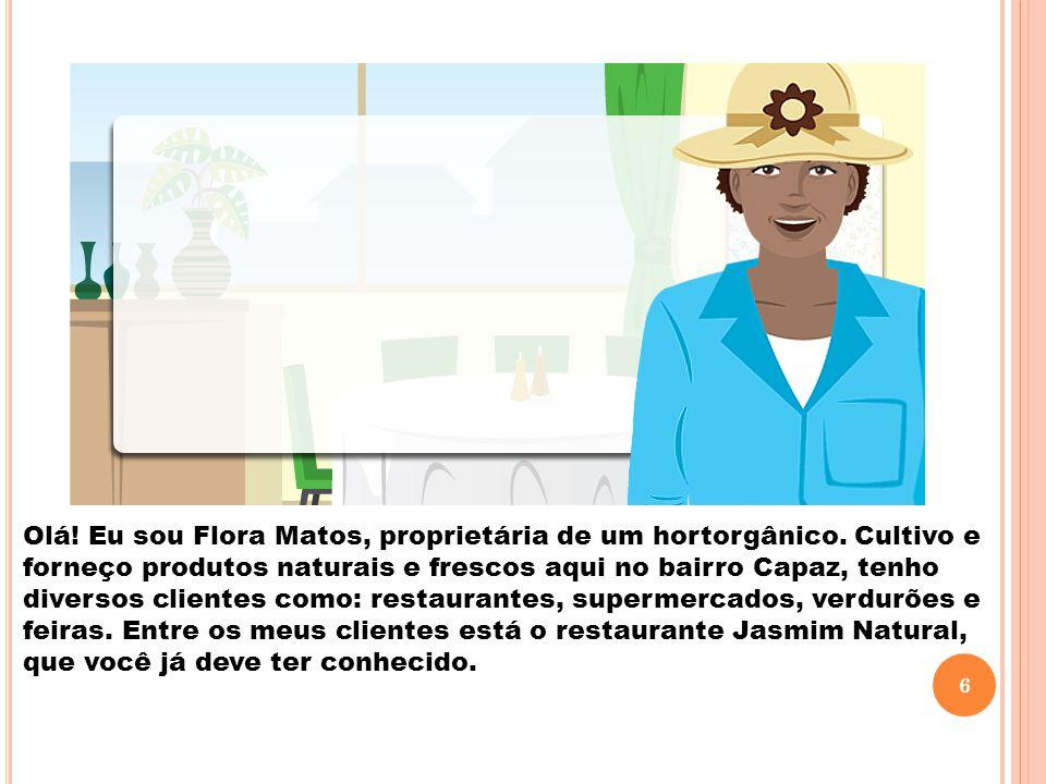 Olá! Eu sou Flora Matos, proprietária de um hortorgânico. Cultivo e forneço produtos naturais e frescos aqui no bairro Capaz, tenho diversos clientes
