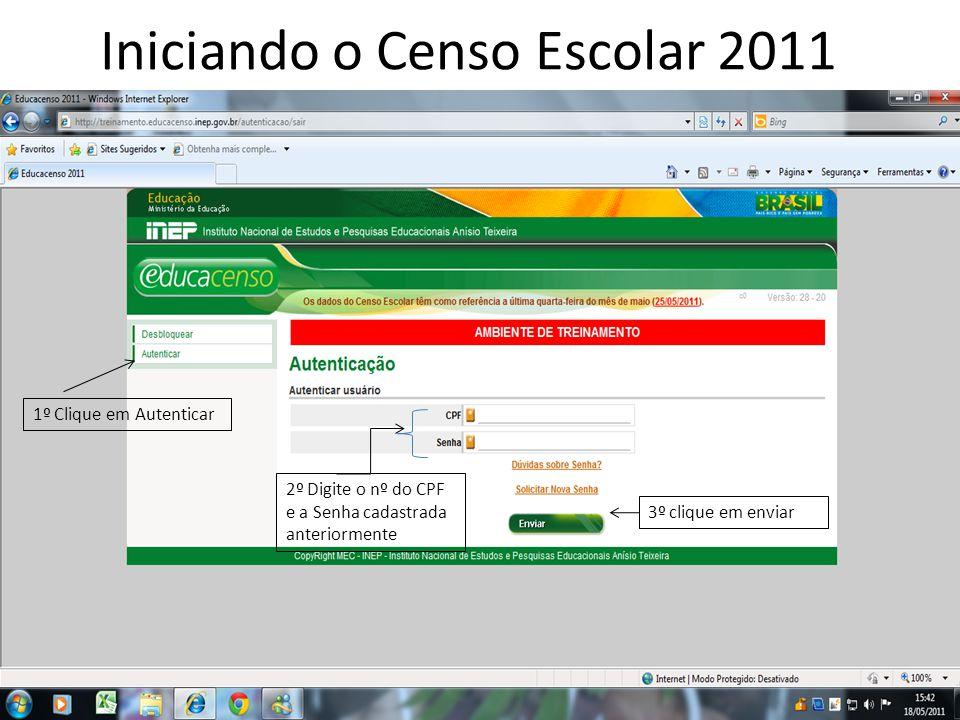 Iniciando o Censo Escolar 2011 2º Digite o nº do CPF e a Senha cadastrada anteriormente 1º Clique em Autenticar 3º clique em enviar