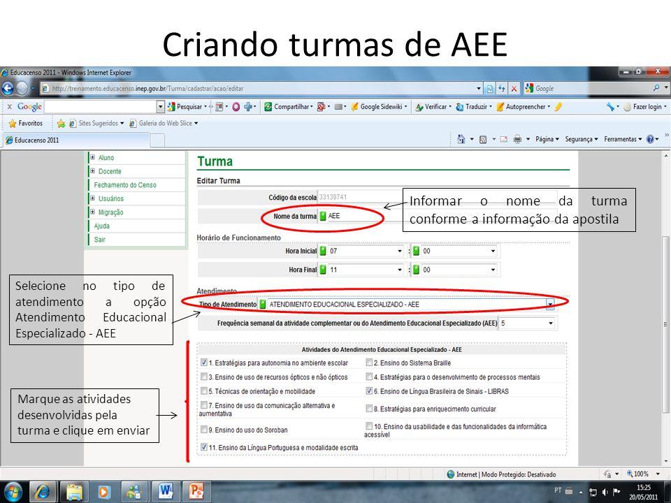 Criando turmas de AEE Informar o nome da turma conforme a informação da apostila Selecione no tipo de atendimento a opção Atendimento Educacional Espe
