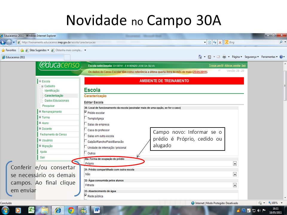Vinculando um Professor com Cadastro no INEP No menu clique em Docente – Pesquisar.