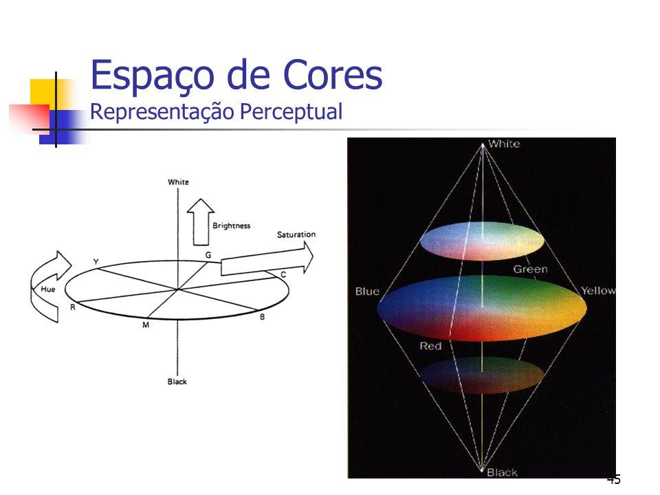 44 Representação da Cor Tonalidade versus Saturação Disco da Cor dá informação sobre a cor e a saturação