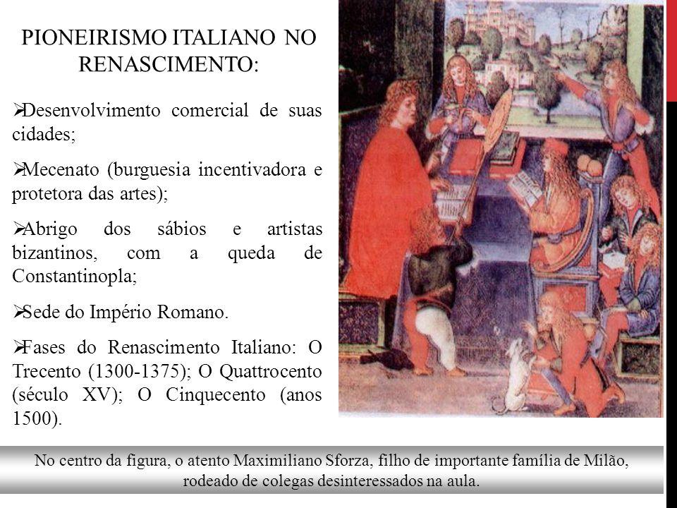 PIONEIRISMO ITALIANO NO RENASCIMENTO:  Desenvolvimento comercial de suas cidades;  Mecenato (burguesia incentivadora e protetora das artes);  Abrig