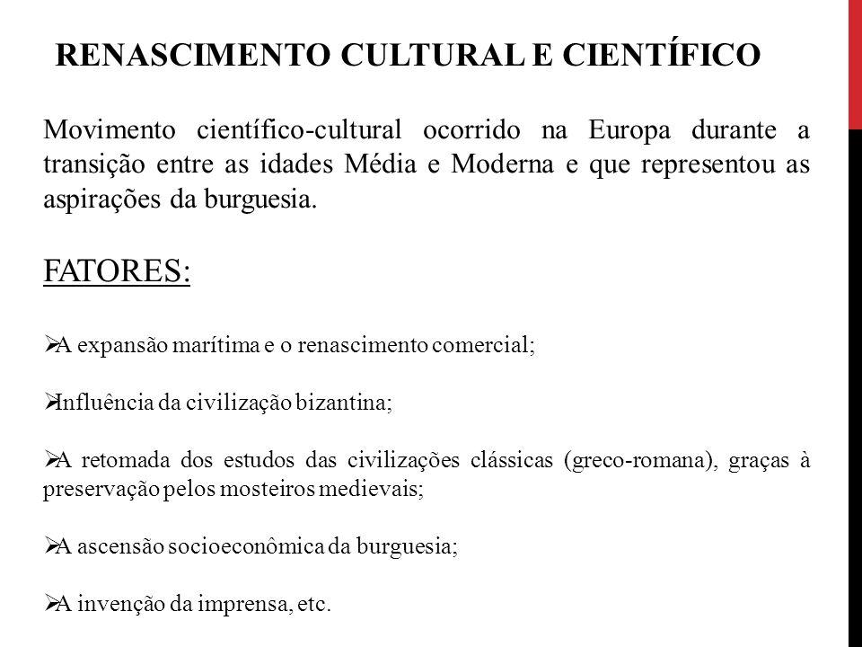 Movimento científico-cultural ocorrido na Europa durante a transição entre as idades Média e Moderna e que representou as aspirações da burguesia. FAT
