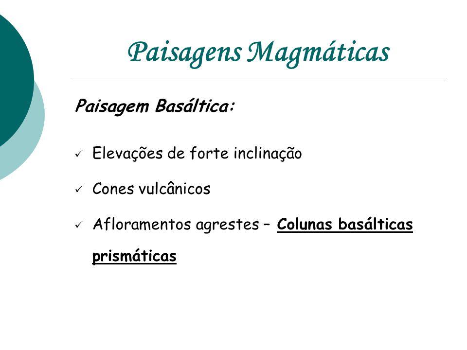 Paisagens Magmáticas Paisagem Basáltica:  Elevações de forte inclinação  Cones vulcânicos  Afloramentos agrestes – Colunas basálticas prismáticas
