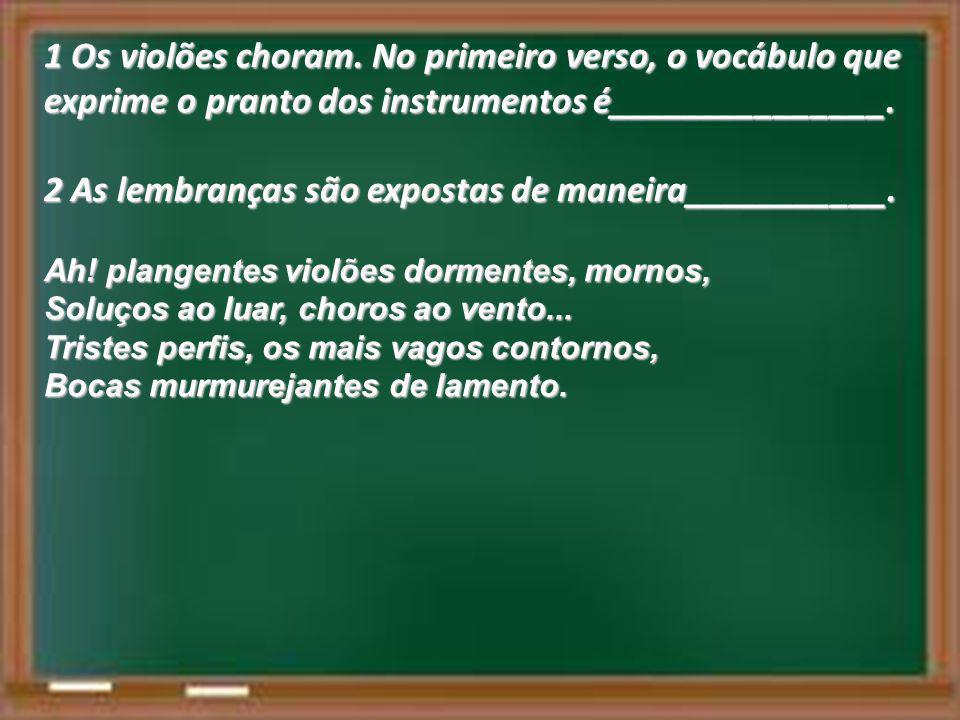 1 Os violões choram. No primeiro verso, o vocábulo que exprime o pranto dos instrumentos é_______________. 2 As lembranças são expostas de maneira____
