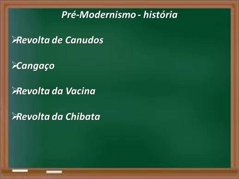 Pré-Modernismo - história  Revolta de Canudos  Cangaço  Revolta da Vacina  Revolta da Chibata