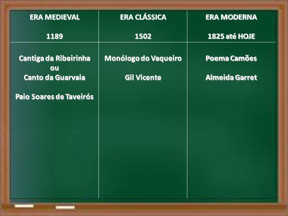 ERA MEDIEVAL 1189 ERA CLÁSSICA 1502 ERA MODERNA 1825 até HOJE Cantiga da Ribeirinha ou Canto da Guarvaia Paio Soares de Taveirós Monólogo do Vaqueiro