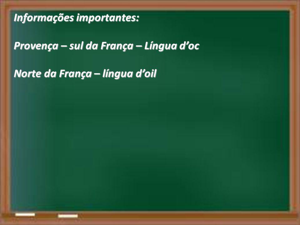 Informações importantes: Provença – sul da França – Língua d'oc Norte da França – língua d'oil