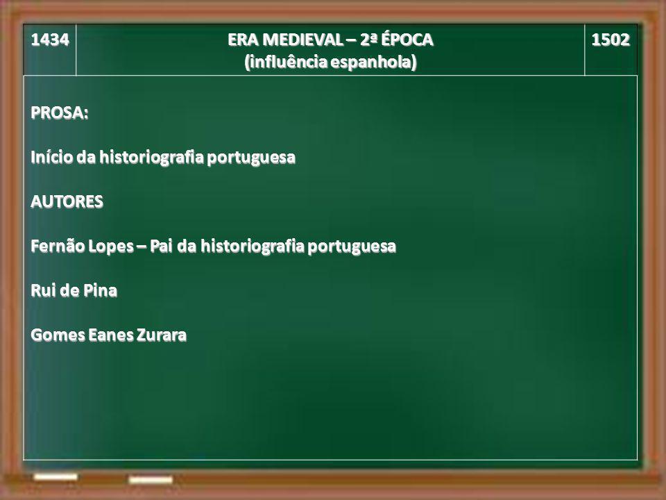 1434 ERA MEDIEVAL – 2ª ÉPOCA (influência espanhola) 1502PROSA: Início da historiografia portuguesa AUTORES Fernão Lopes – Pai da historiografia portug