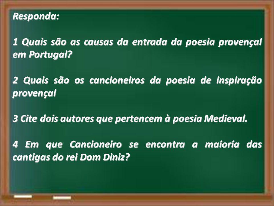Responda: 1 Quais são as causas da entrada da poesia provençal em Portugal? 2 Quais são os cancioneiros da poesia de inspiração provençal 3 Cite dois
